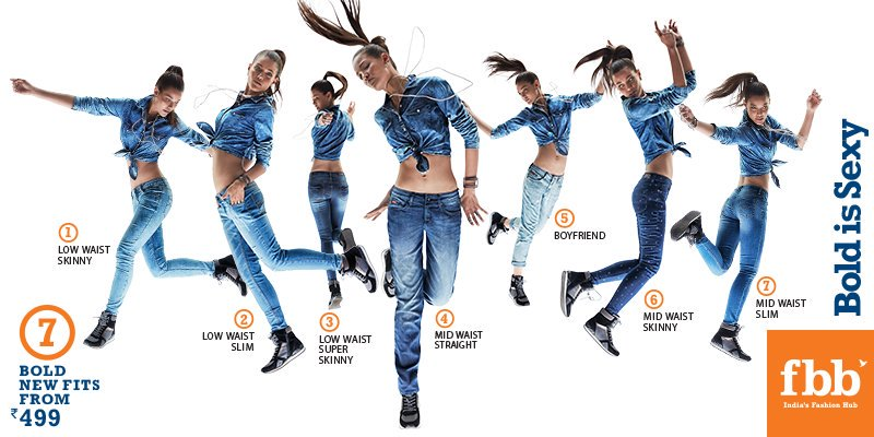 RT @fbb_india: With 7 new fits for women, never feel uncomfortable in a pair of jeans again! Go Bold…#BoldIsSexy https://t.co/DJw2Z9CVXf